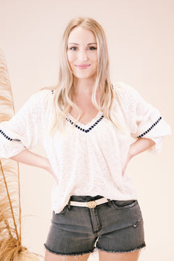 Darcy Eyelet Blouse, Ivory | Free People