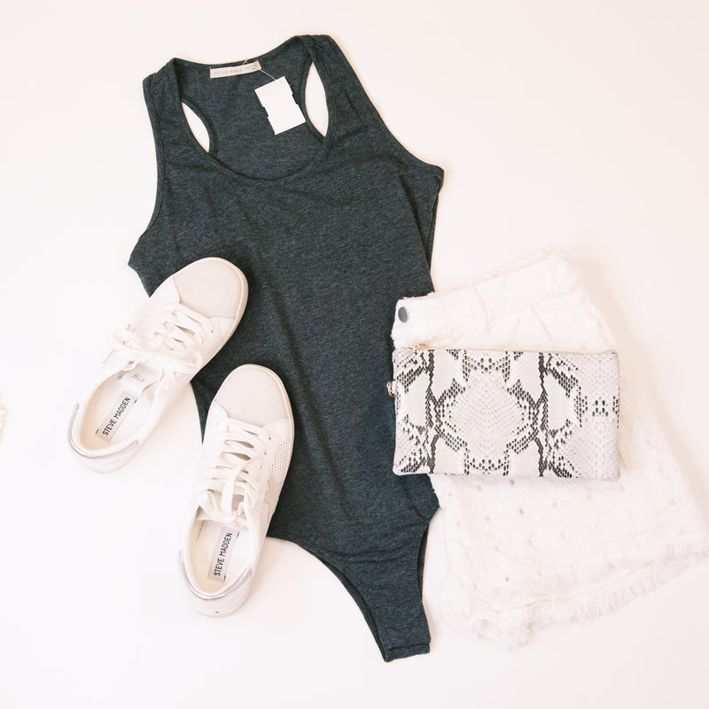 Sleeveless Scoop Neck Bodysuit, Heather Charcoal