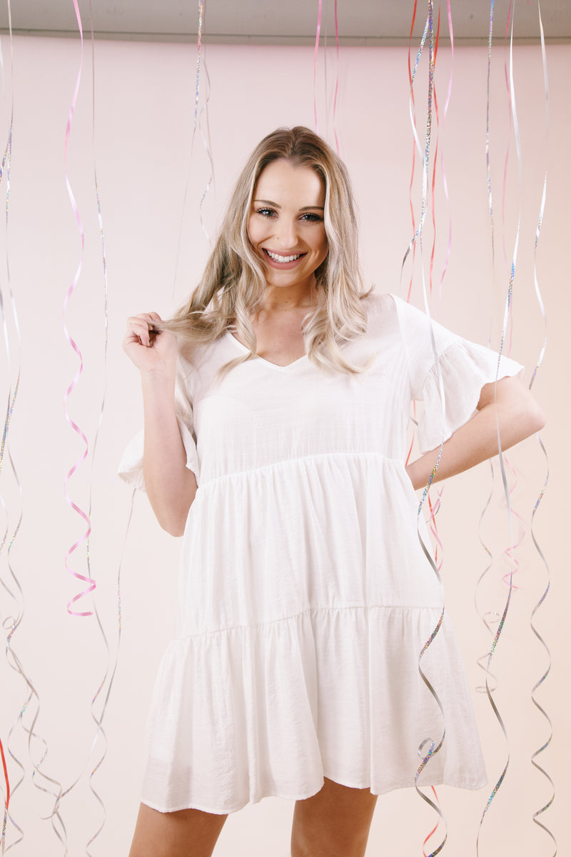 Tinsley Tiered Dress, Off White