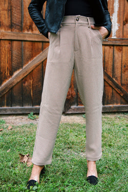 Abingdon Houndstooth Trouser Pant, Beige/Rust
