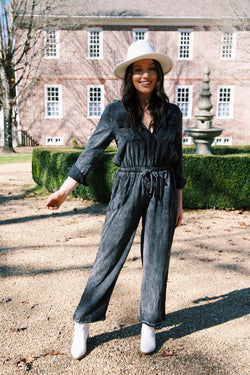 Hendricks Acid Wash Utility Jumpsuit, Charcoal