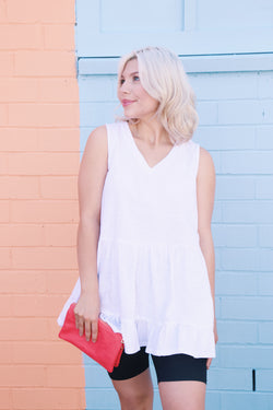Camellia Sleeveless Tunic Tank, White