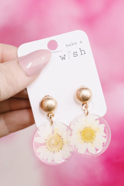 Rue Pressed Flower Earrings, Gold/Clear