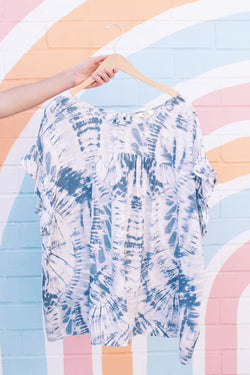 Liquid Blue Tie Dye Ruffle Sleeve Top, Blue Multi | Extended Sizes Available