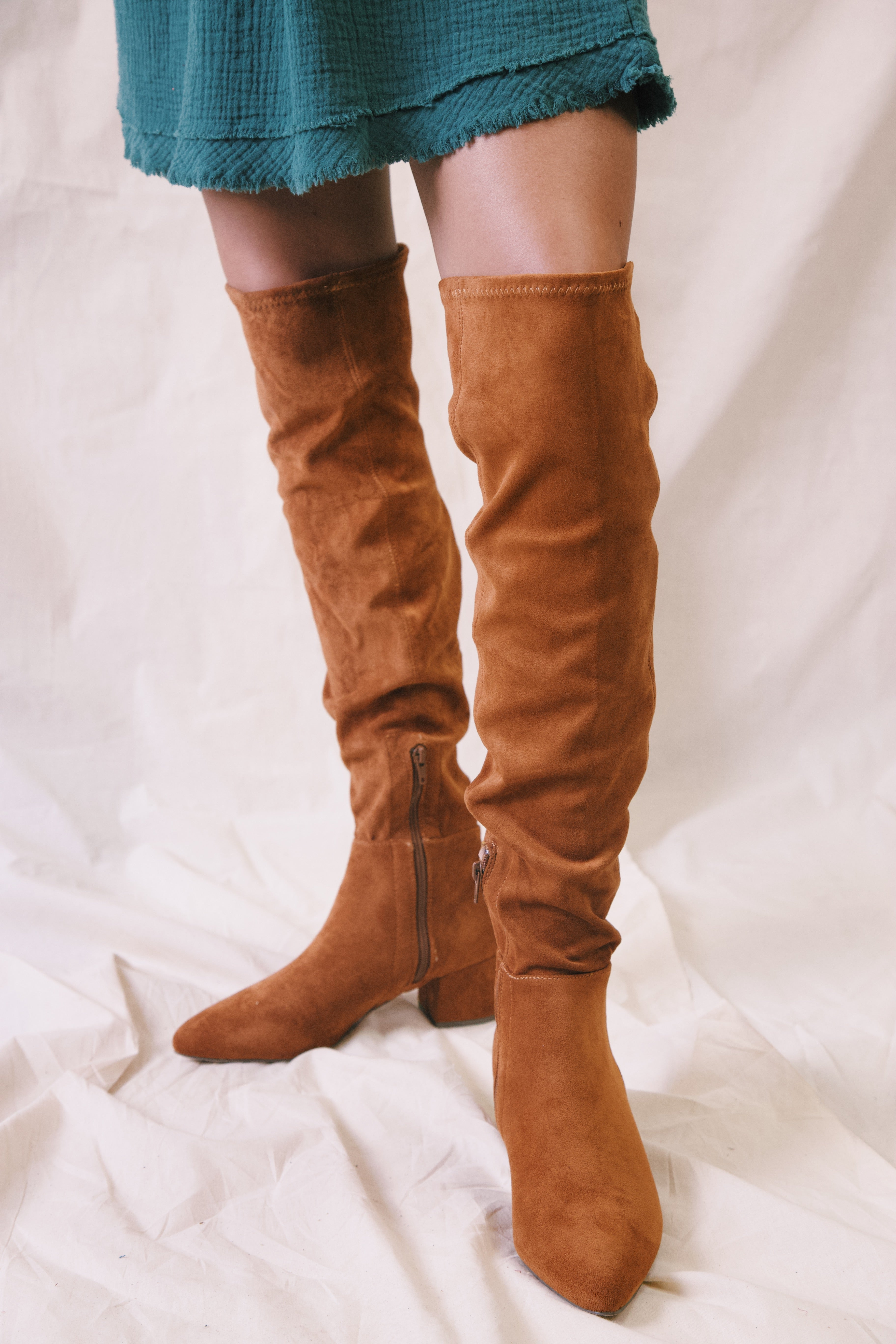 70s Shoes, Platforms, Boots, Heels | 1970s Shoes Wynter Faux Suede Over The Knee Boots Tan $58.00 AT vintagedancer.com