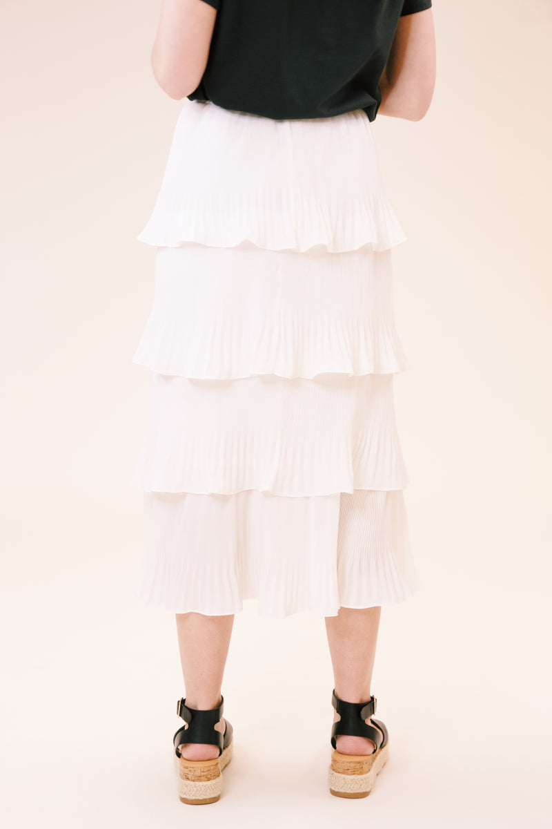 Moon River Pleated Tiered Woven Midi Skirt, Off White