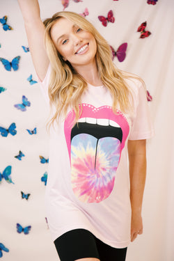 Tie Dye Tongue Graphic Tee, Pink | Extended Sizes Available