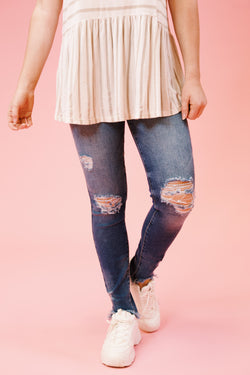 Used To This Mid Rise Distressed Skinny Jeans, Medium Dark