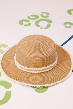 Straw Hat With Frayed Ribbon and Edging, Natural/CRM