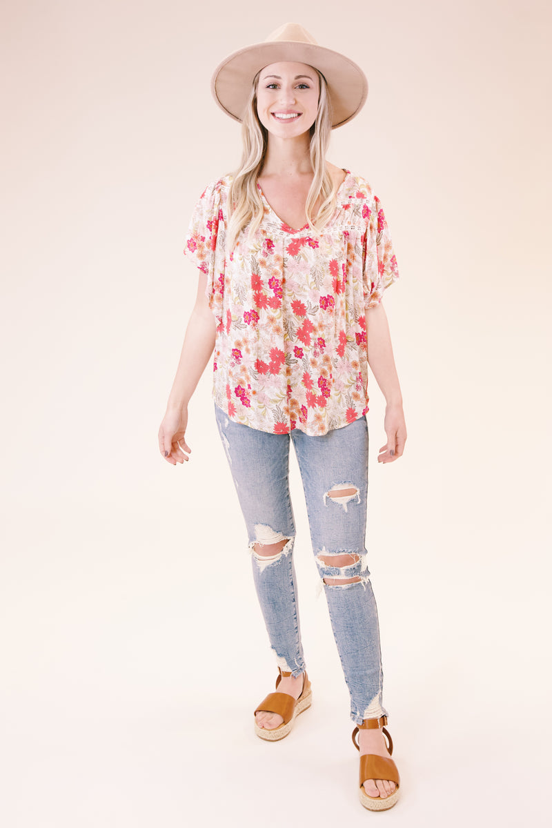 Floral Printed Flutter Sleeve Top, Pink Multi | Democracy