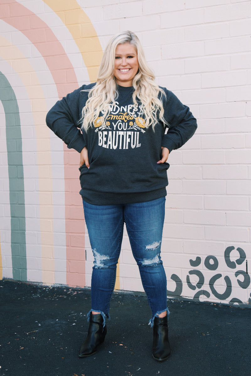 Kindness Makes You Beautiful Pullover Sweatshirt, Charcoal | Extended Sizes Available