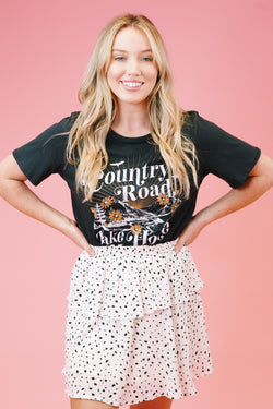Country Road Take Me Home Graphic Tee, Black