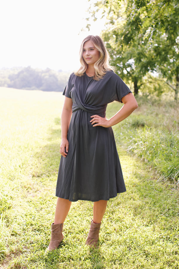 Modal Twist Front Dress, Charcoal