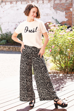 Young At Heart Dotted Wide Leg Pant, Black