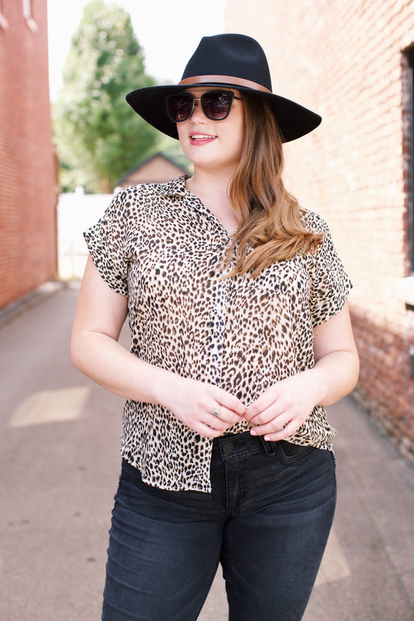 Cheetah Button Front Top, Stone Mix | Plus Size