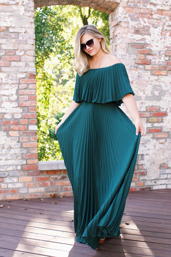 Phoebe Pleated Maxi Event Dress, Hunter Green