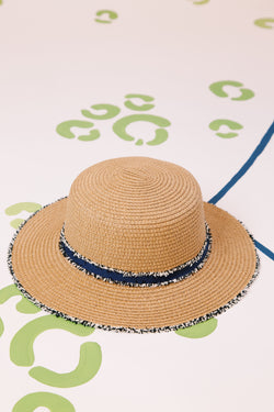 Straw Hat With Frayed Ribbon and Edging, Natural/Navy