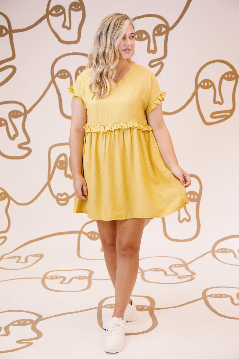 Don't Worry Ruffle Sleeve Dress, Yellow