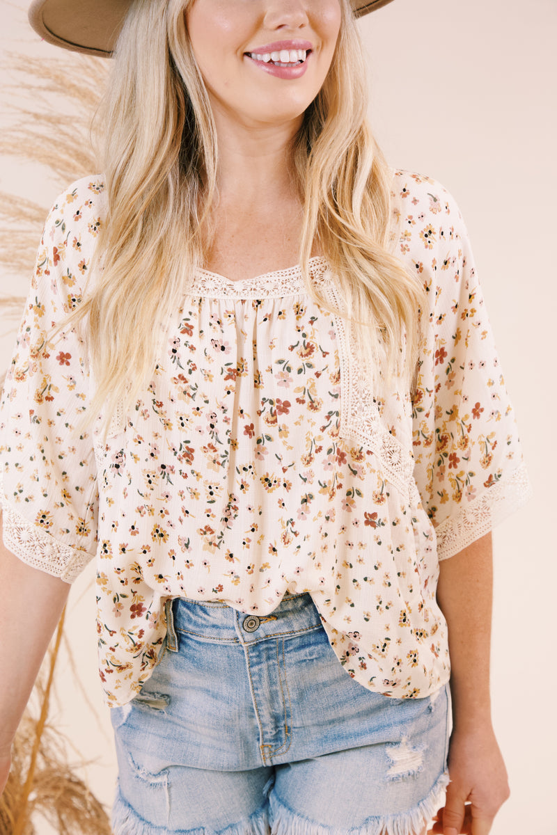 Secret Garden Floral Top, Natural