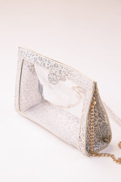 Miller Snap Clear Crossbody, White Leopard