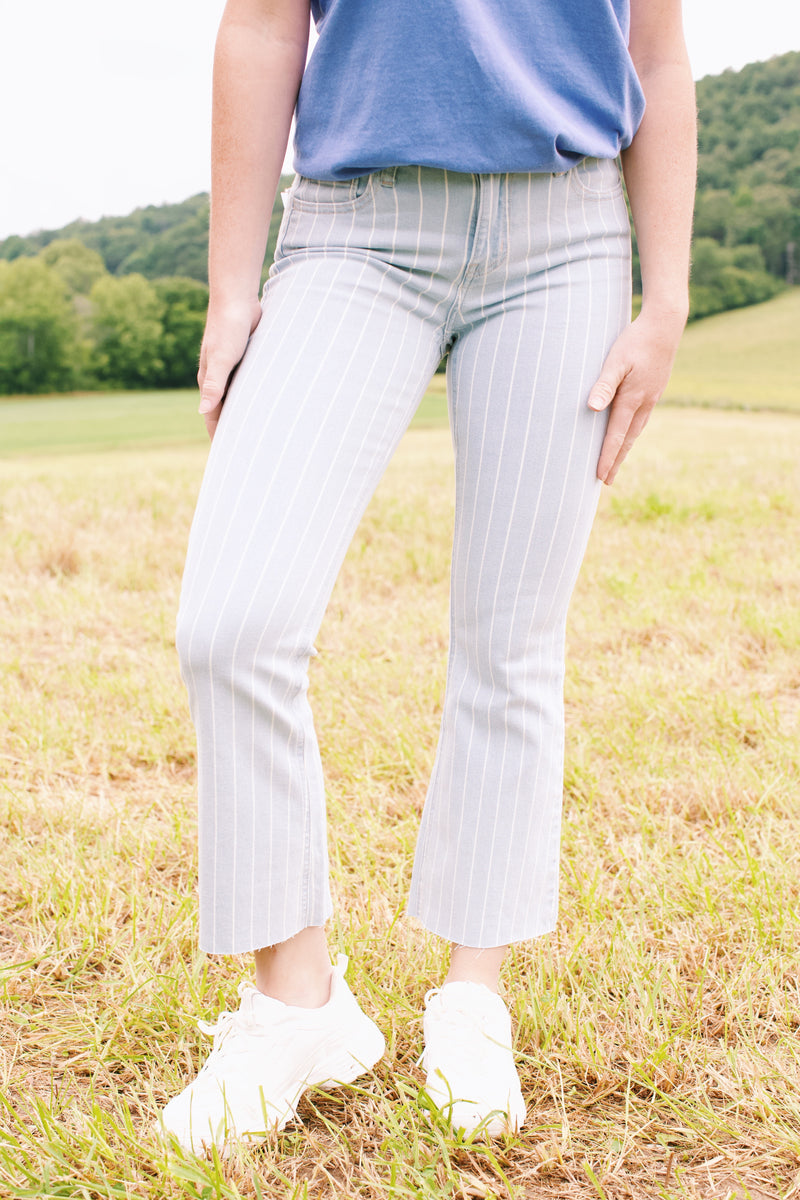Finest Hour Striped Mid Rise Jean, Light Blue