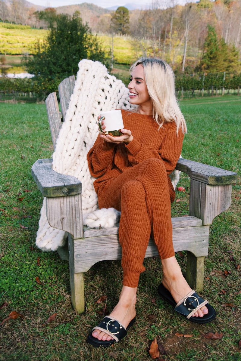 Cozy As Can Be Knit Pant, Rust