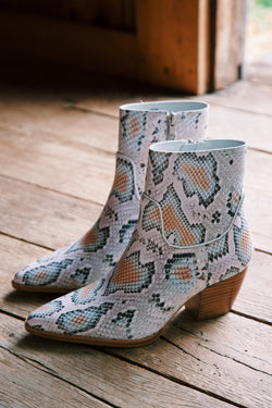 Amore Snake Print Bootie, White Multi | Matisse