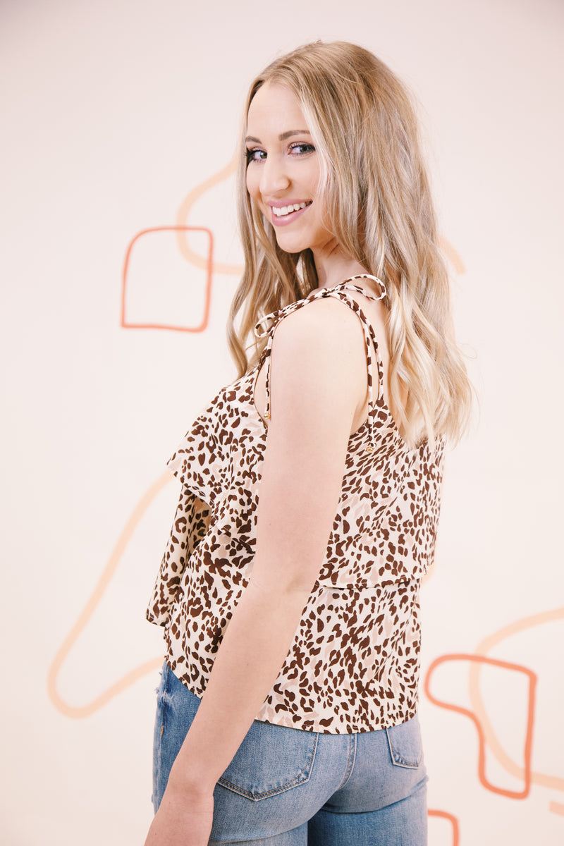 Lynden Leopard Layered Cami, Brown/Ivory
