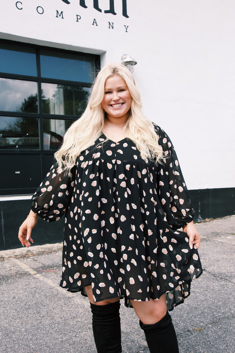 Ivey Puff Sleeve Babydoll Dress, Black Leopard | Plus Size