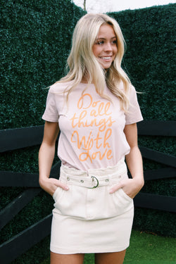 Do All Things With Love Graphic Tee, Dark Pink