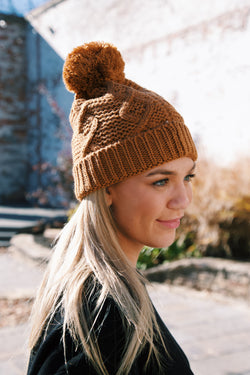 Eaton Cable Knit Beanie, Camel