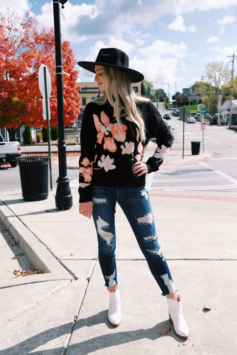 Florence Floral Knit Sweater, Black | MINKPINK