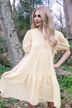 Lorelei Tiered Dress, Light Yellow