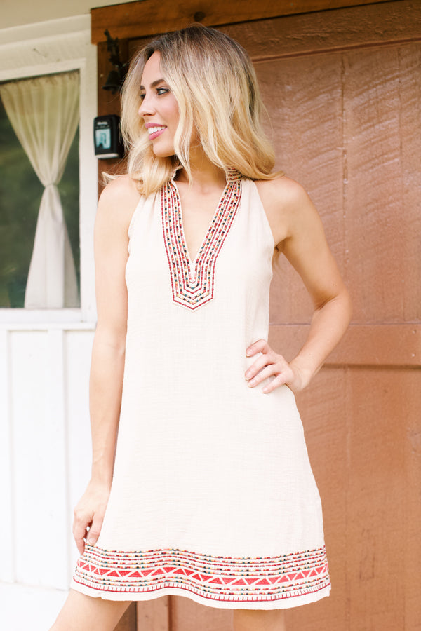 Canyon Embroidered V-Neck Halter Dress, Cream Multi