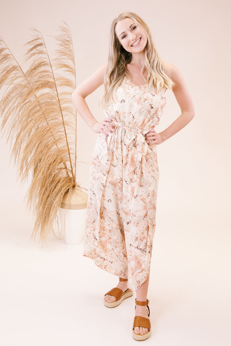 Lola Sleevless Printed Jumpsuit, Peach/Cream