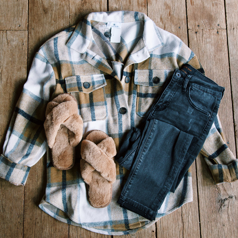 Campbell Plaid Button Down Jacket, Brown