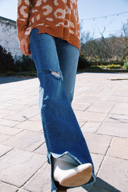 The Night We Met High Rise Flare Jeans, Dark Wash
