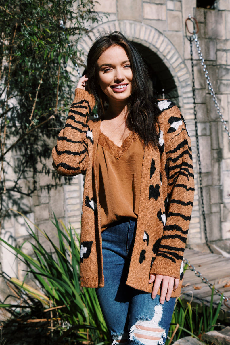 Tania Mixed Animal Print Cardigan, Brown | RD Style