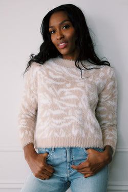Wild Jane Eyelash Sweater, White/Beige | MINK PINK