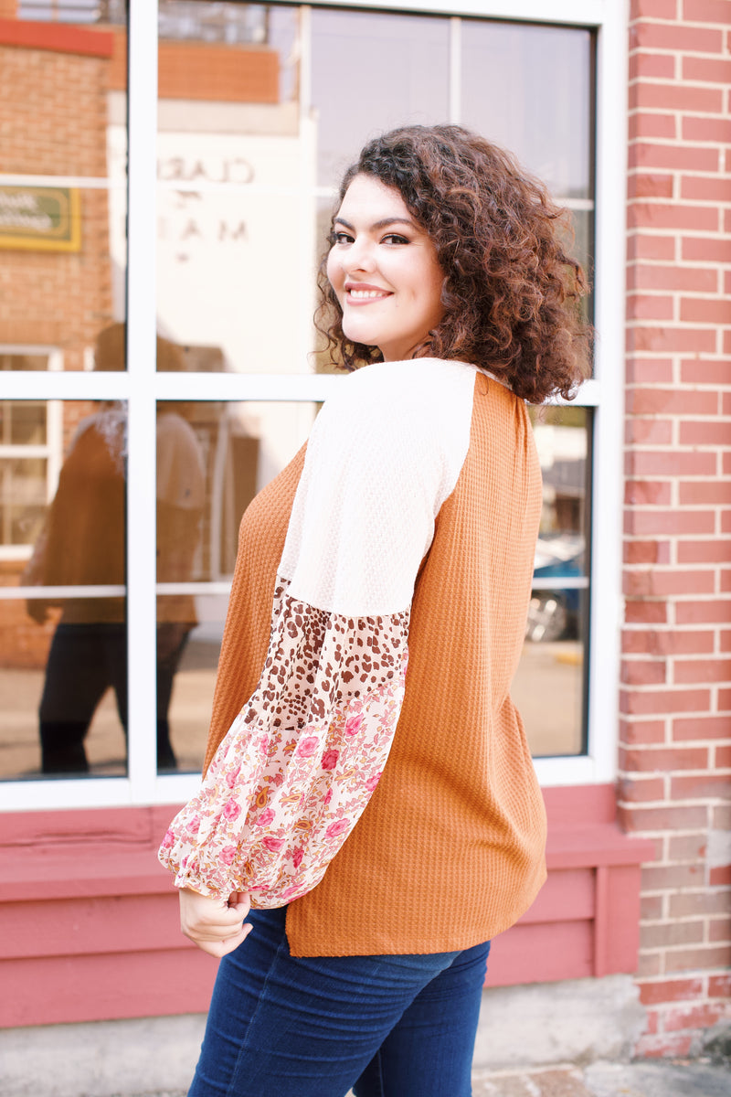 Floral and Animal Print Waffle Knit Top, Camel | Plus Size