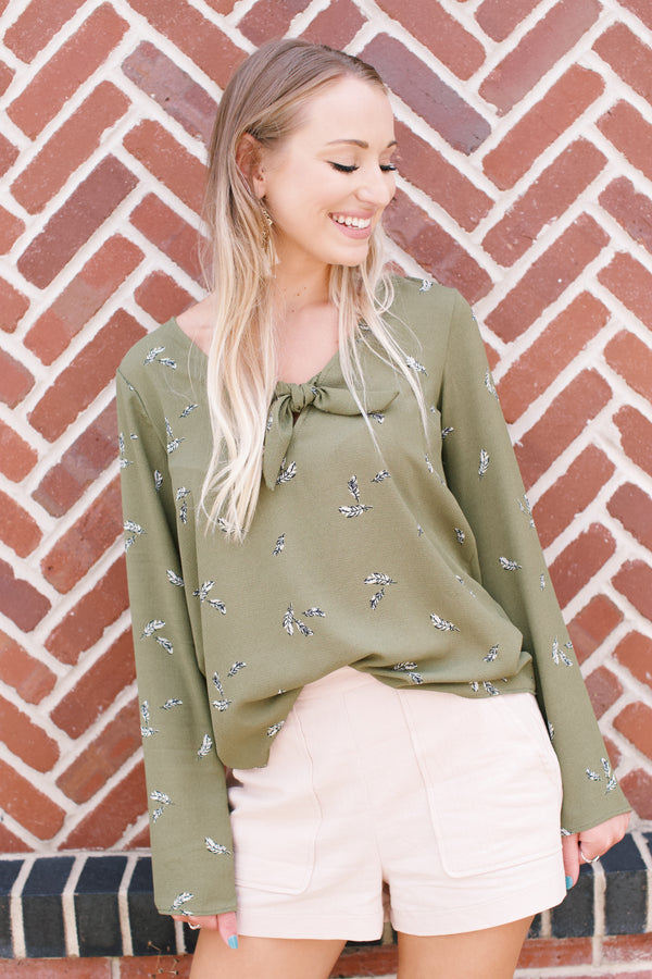 Autumn Leaves Printed Top, Olive