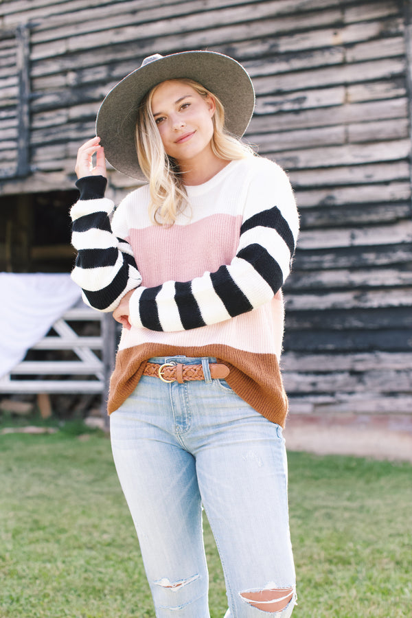 Chrissy Striped Sweater, Pink Mix