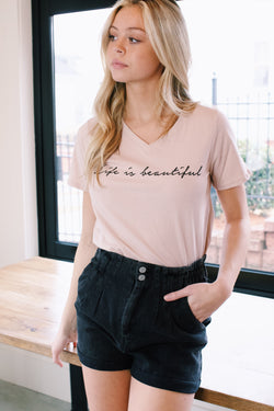Life Is Beautiful Graphic Tee, Dusty Pink