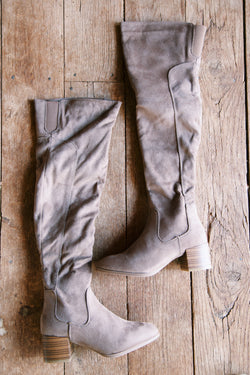 Catherine Faux Suede Over The Knee Boots, Taupe