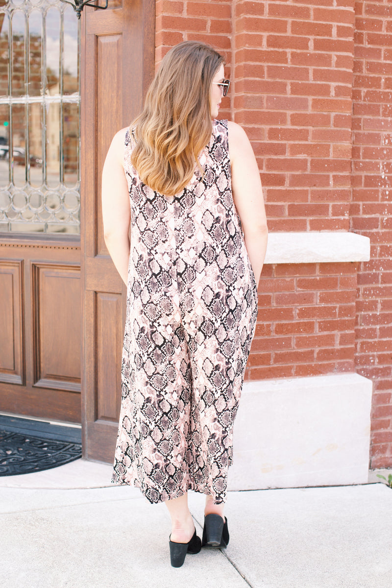 Snake Print Jumpsuit, Peach Multi | Plus Size