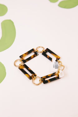 Rectangle Tortoise Link Bracelet, BRN TORT