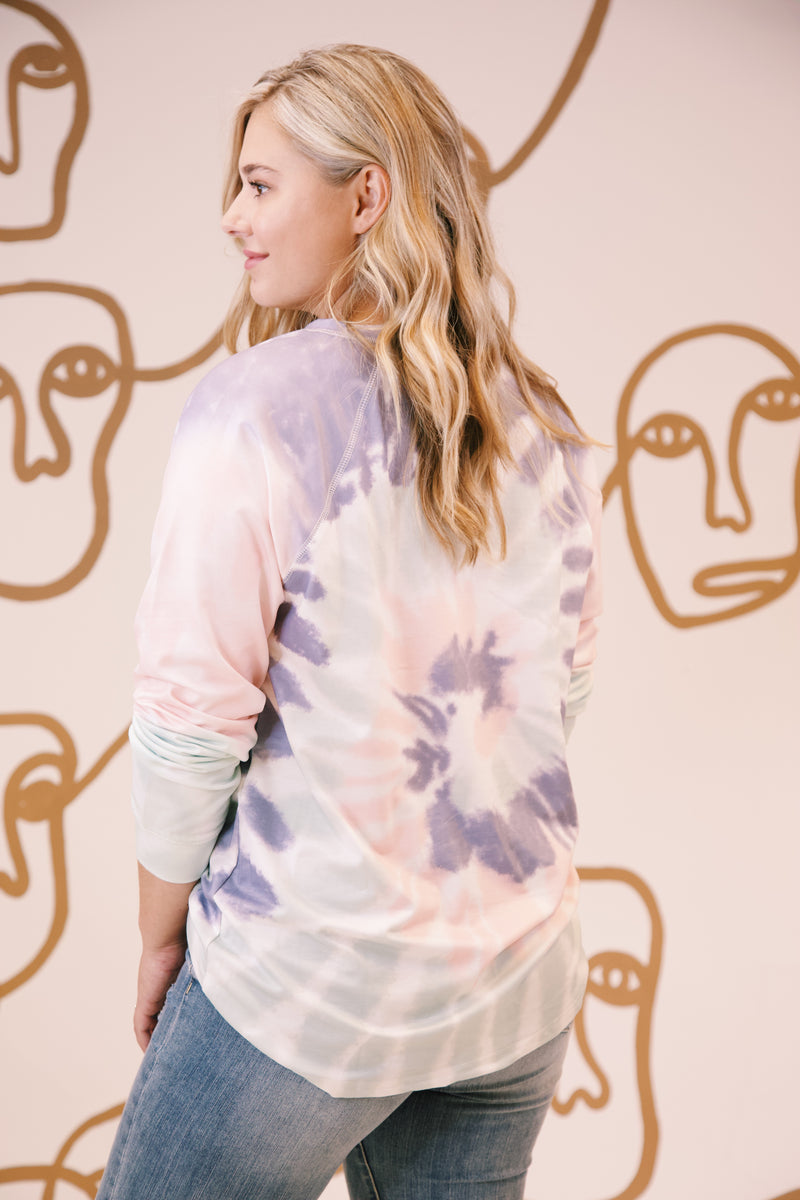 Chimera Tie Dye Pullover, Sage/Pink | Extended Sizes Available