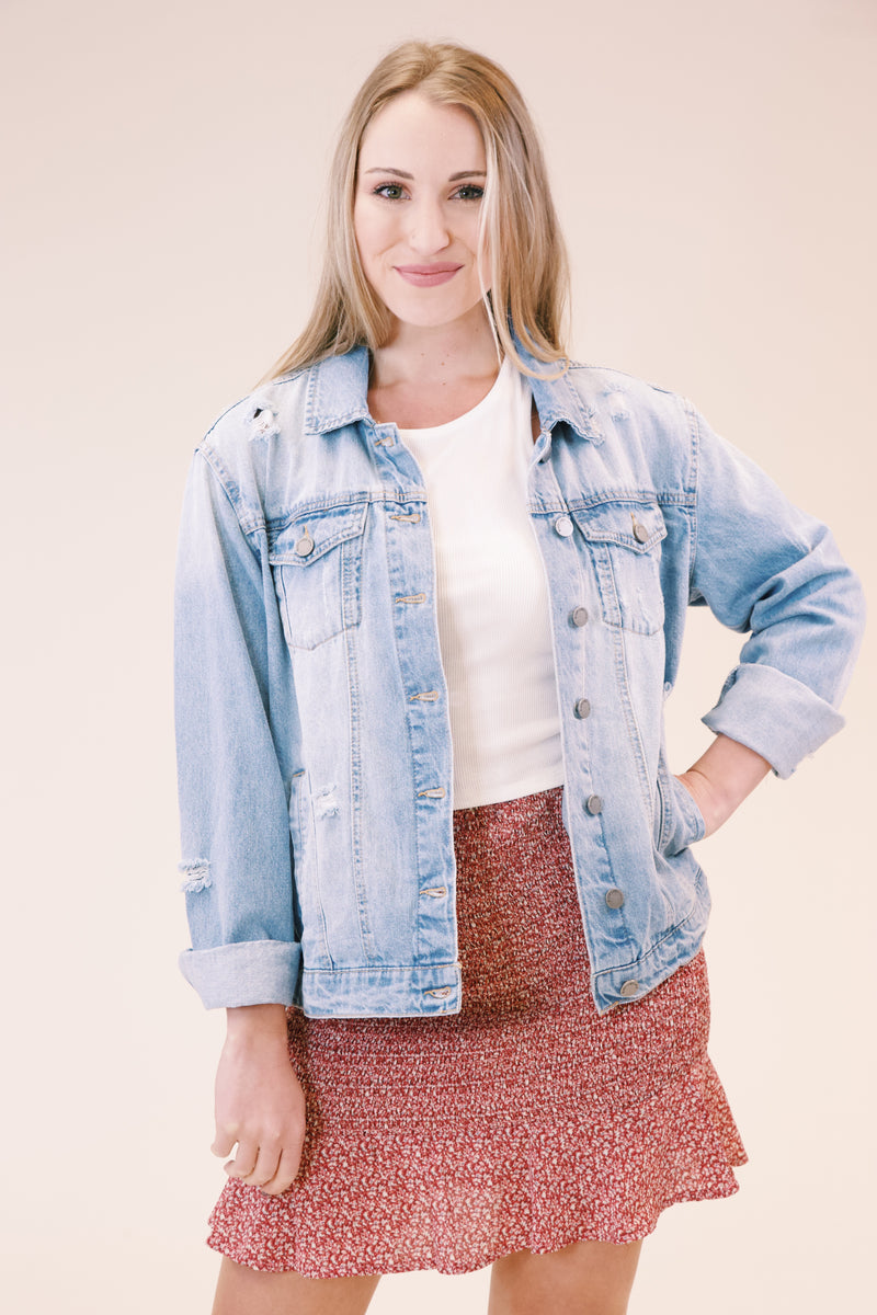 Kelia Oversized Denim Jacket, Light