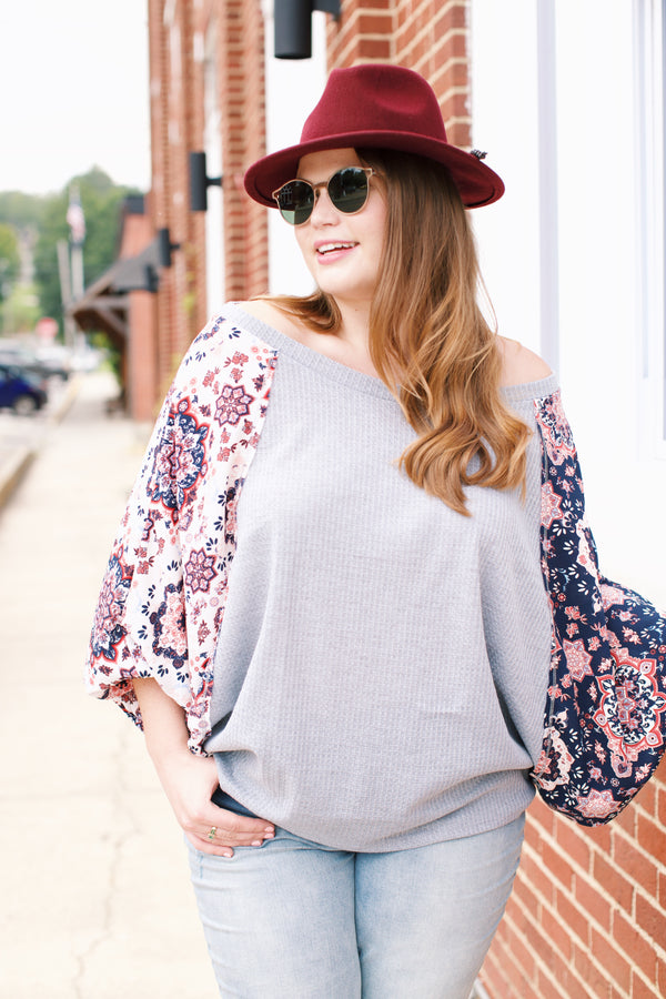 Floral Blouse, Grey Multi | Plus Size