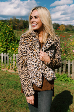 Jackson Leopard Faux Fur Moto Jacket, Brown Multi